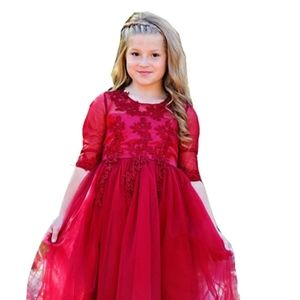 Just Couture 3D lace red burgundy dress sleeves 10